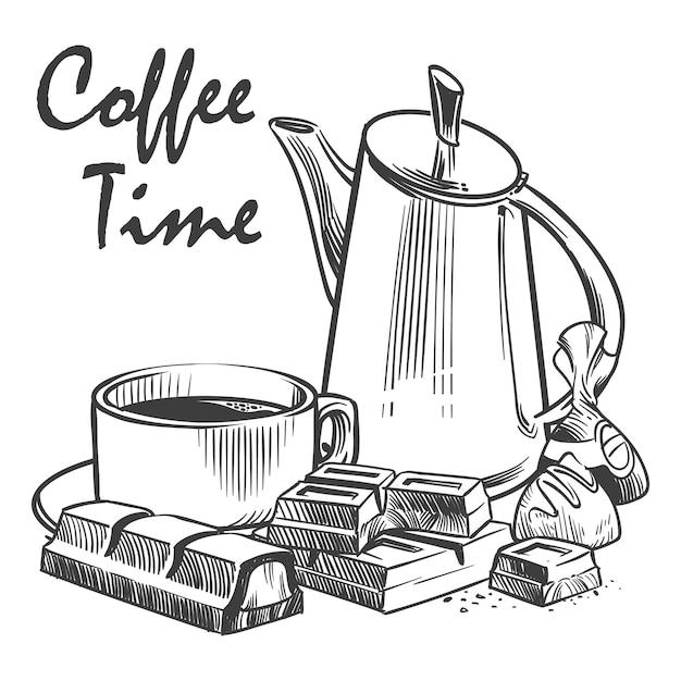 手描きのコーヒータイムのイラスト。 Premiumベクター