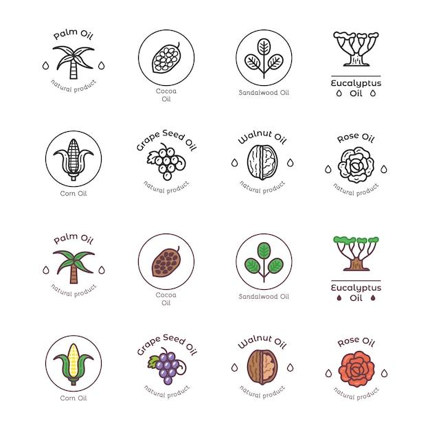 Набор иконок ингредиенты органической косметики Premium векторы
