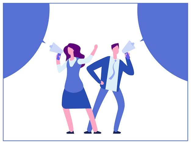 男と女のメガホンとバブルのスピーチ Premiumベクター