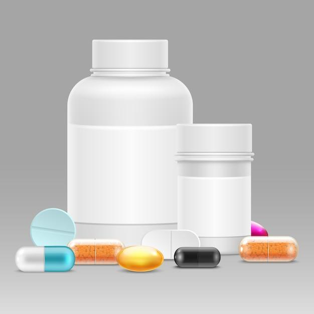 Иллюстрация медицины с реалистичными пластиковыми бутылками для таблеток и лекарств, витаминов, таблеток Premium векторы