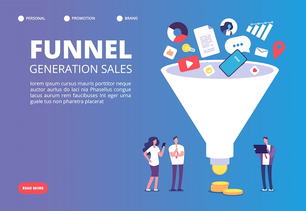 ファンネルセールの生成。デジタルマーケティングファンネルは、購入者との世代をリードします。 Premiumベクター