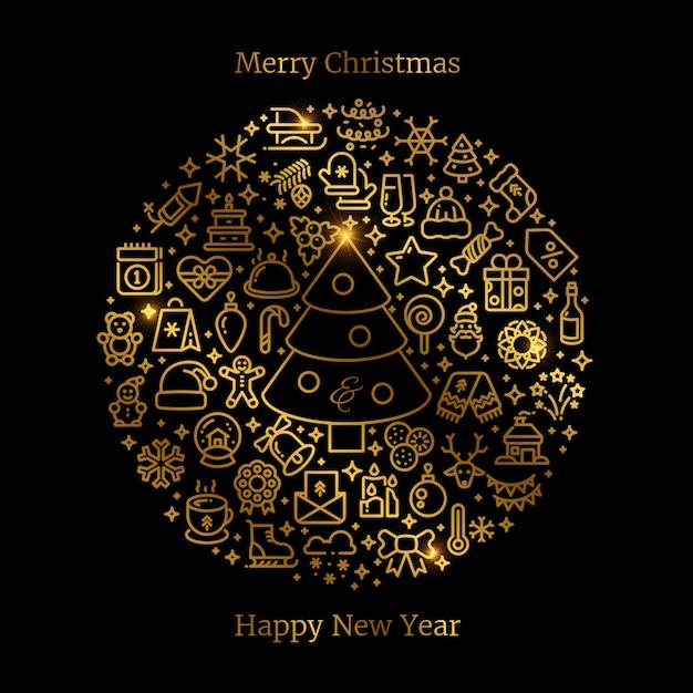 Золотые рождественские линии искусства иконки расположены в шар векторной иллюстрации Premium векторы