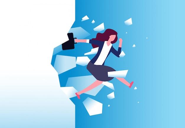 Предприниматель ломать стену. сильная женщина прыгает через барьер. свободные люди, действия и преодолеть вектор концепции Premium векторы