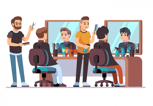 クライアントと美容院。ミラー付きの理髪店のインテリアで男性のスタイリッシュな散髪をしている理容室。ビューティーサロンのベクトル図 Premiumベクター