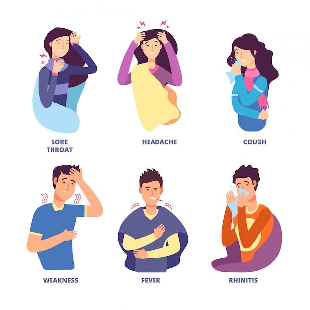 Симптомы гриппа. люди демонстрируют простуду. лихорадка, кашель, сопли, озноб, головокружение. векторные символы для плаката профилактики гриппа Premium векторы