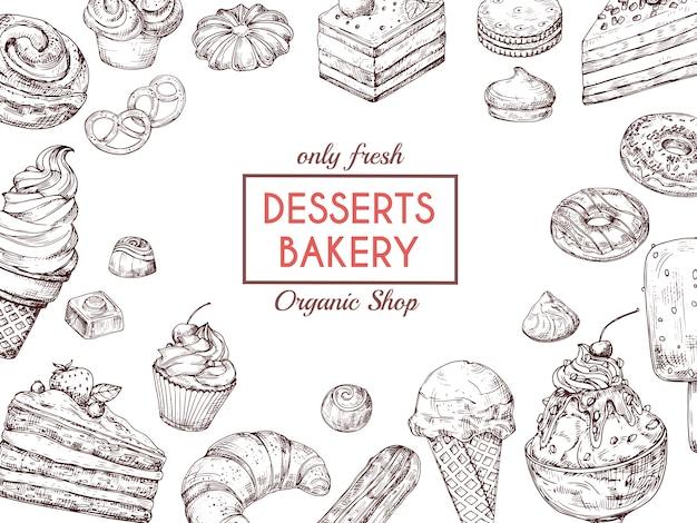 デザートの背景をスケッチします。甘いケーキおいしいパイクロワッサンとマフィン。手描きベーカリーメニューベクトルテンプレート Premiumベクター