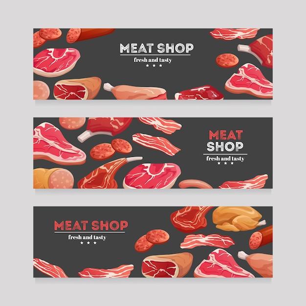 肉製品のバナー。牛肉と豚肉のソーセージ、ハムとサラミ、ベーコン。肉屋肉バナーベクトルを設定 Premiumベクター