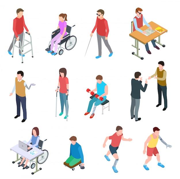 Инвалиды изометрии. лица с травмами в инвалидных колясках, с протезами, слепые и пожилые люди. векторный набор изолированных Premium векторы