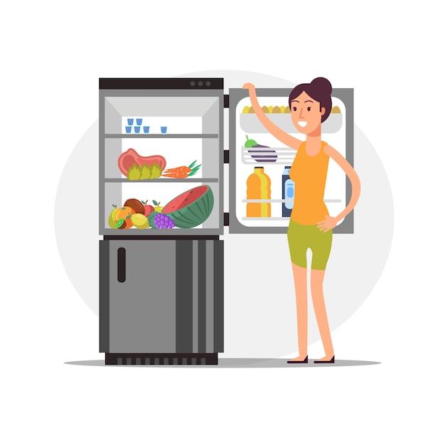 Фитнес мультфильм девочка в холодильнике со здоровой пищей Premium векторы