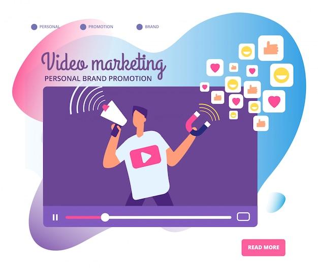 Вирусный видео маркетинг иллюстрация Premium векторы