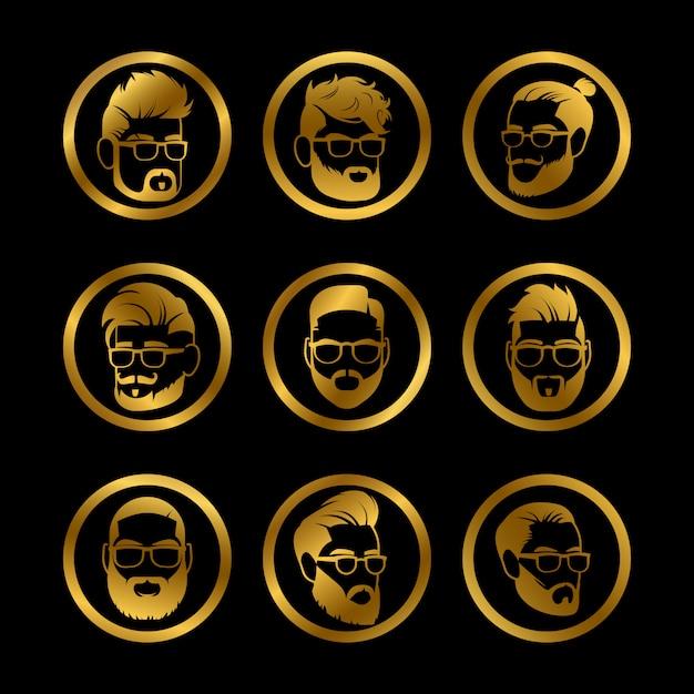 黄金のアイコンの男性の頭 Premiumベクター