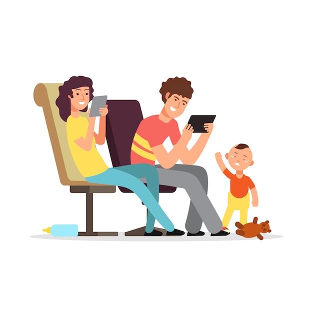 若い親は子供に注意を払わない Premiumベクター