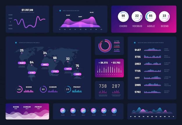 Набор графической панели инфографики Premium векторы