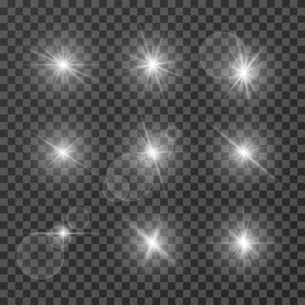 Светящиеся пятна белого света Premium векторы