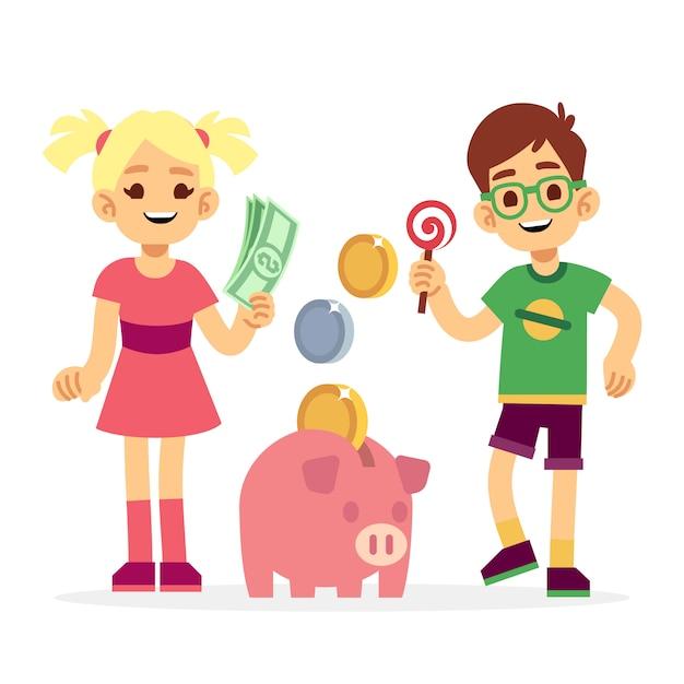 貯金箱でお金を節約する子供たち Premiumベクター