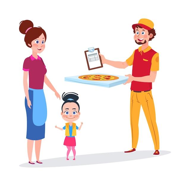 Девочка и ее мама получают доставку пиццы Premium векторы