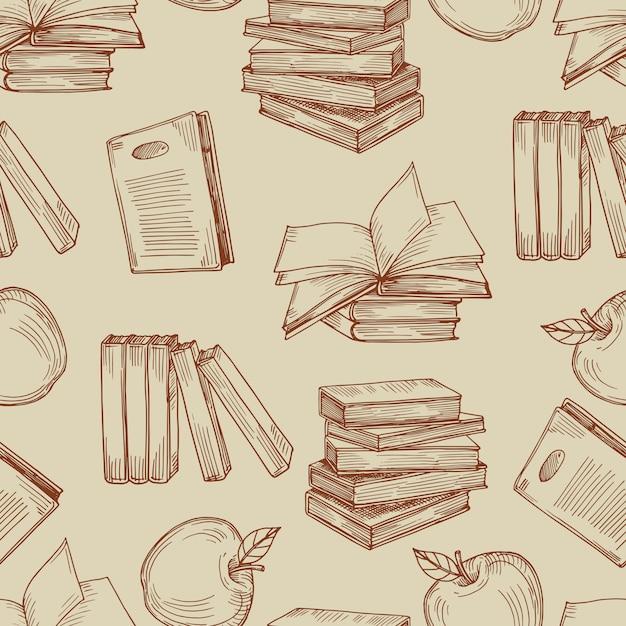 Эскиз старинные книги бесшовные модели Premium векторы