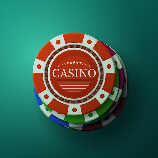 Фишки казино. стек фишек для покера. блэкджек азартные игры. Premium векторы