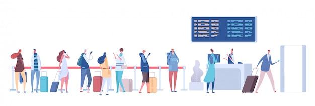 空港のキューの人々。乗客の荷物は一列に並んでいます。ターミナルで登録してください。空港到着出発コンセプト Premiumベクター