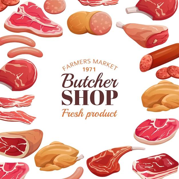 肉屋のポスター。生の生肉、ビーフステーキ、ポークハム。肉製品 Premiumベクター