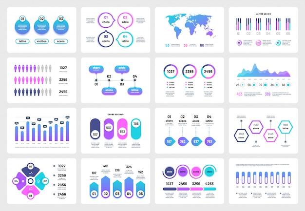 プレゼンテーションインフォグラフィック要素。グラフチャート企業レポートのタイムライン。ビジネスマーケティング多目的インフォグラフィック Premiumベクター