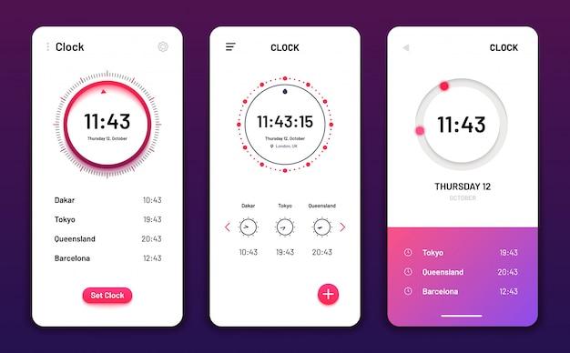 時計アプリ。デジタル時計アラーム電話アプリケーション。携帯電話の時計ウィジェットの未来的なユーザーインターフェイス Premiumベクター