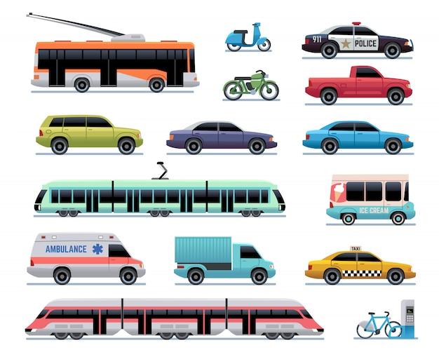 Городской транспорт. мультяшный автомобиль, автобус и грузовик, трамвай. поезд, троллейбус и скутер. коллекция городского транспорта Premium векторы