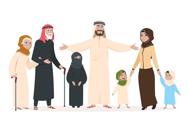 Арабская семья. мусульманские мама и папа, счастливые дети и пожилые люди. герои мультфильмов саудовского ислама Premium векторы