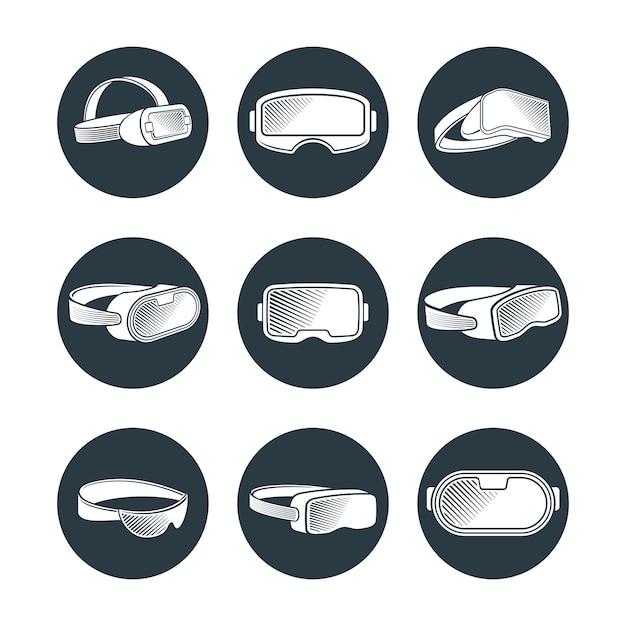 Набор иконок очки и шлемы виртуальной реальности Premium векторы