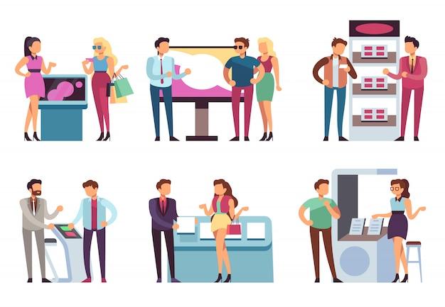 人と製品スタンド。プロモーターは、プロモーションエキスポスタンドで製品サンプルを男女に宣伝します。展示会ベクターセット Premiumベクター