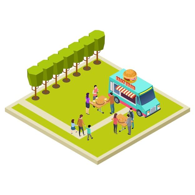 Партия соседства в парке с гамбургерами изометрической векторной иллюстрации местоположения Premium векторы