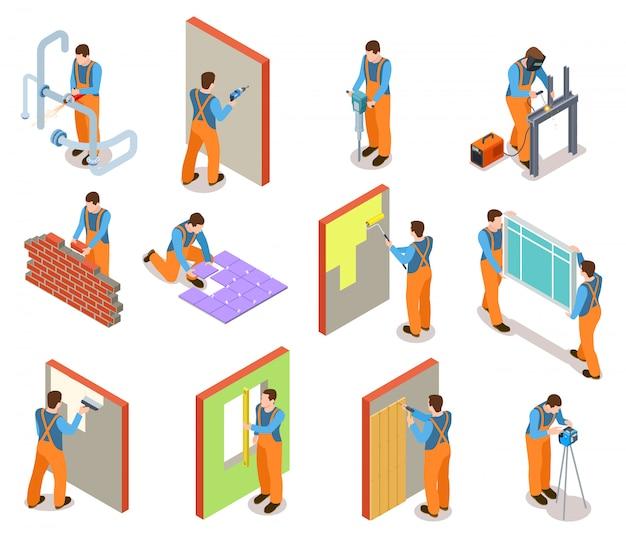 Изометрические строительные рабочие набор Premium векторы