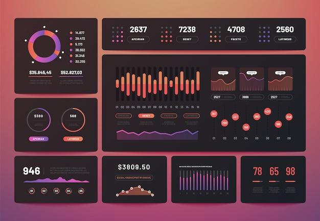 パフォーマンスグラフ付きの分析データインフォグラフィック Premiumベクター