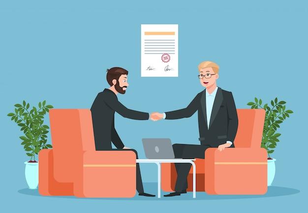 Бизнесмены рукопожатие после подписания соглашения Premium векторы