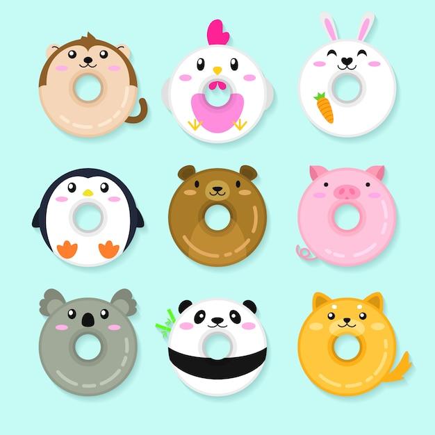Набор пончиков для животных. симпатичные иллюстрации животных Premium векторы