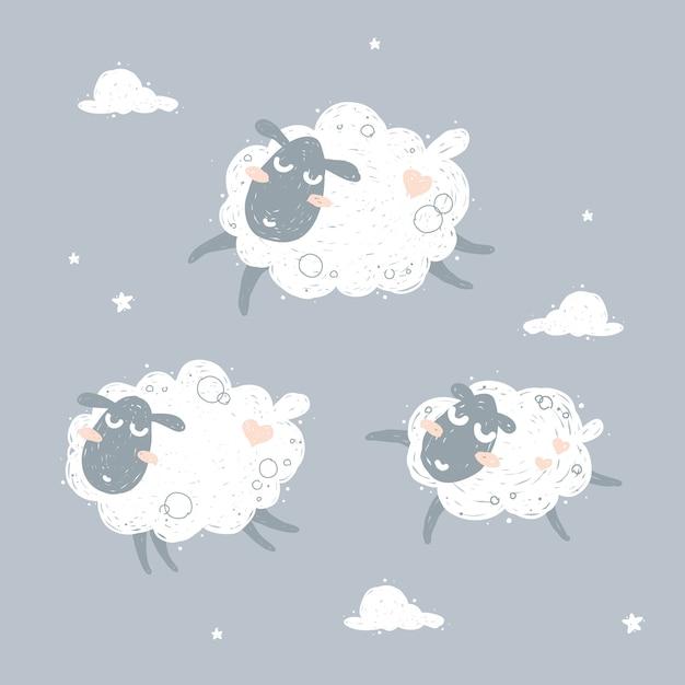 かわいい飛ぶ羊と夢のイラスト Premiumベクター