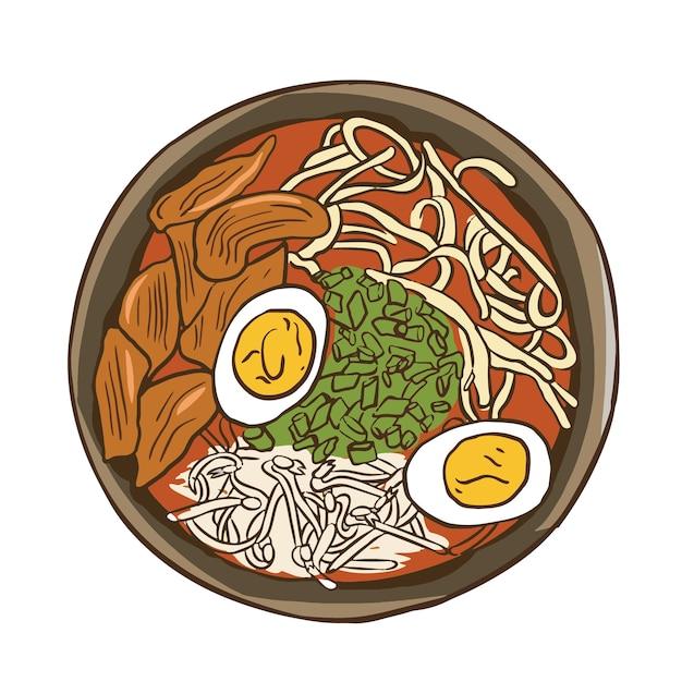 Традиционный японский рамен суп с лапшой и отварным яйцом изолированный плоский рисунок Premium векторы