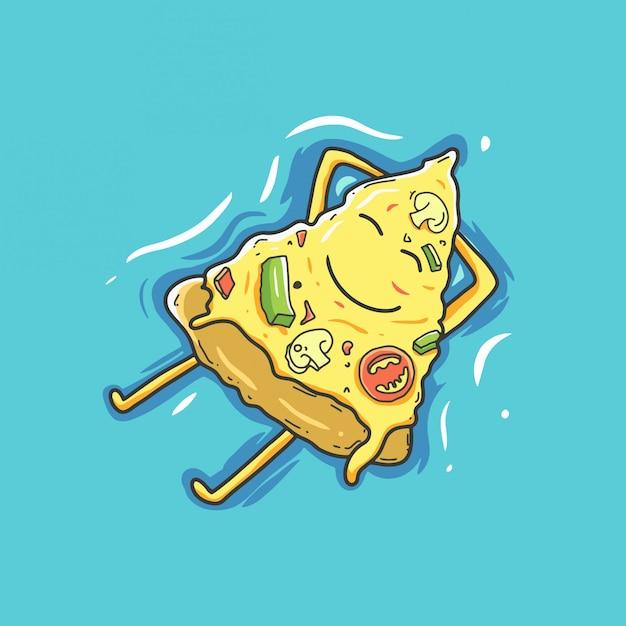ピザの漫画のキャラクターは夏にリラックスします。 Premiumベクター