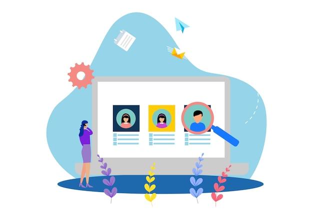 Плоские шаблоны веб-страниц дизайна онлайн-работы по подбору персонала Premium векторы