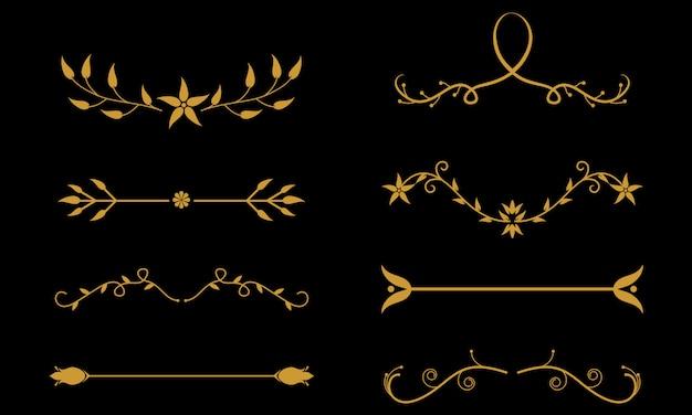 Цветочный орнамент-разделитель. растительный орнамент и эскиз листьев украшения Premium векторы