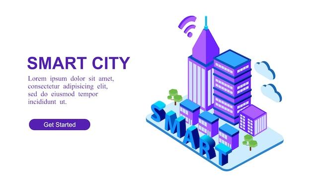Современный изометрический баннер умного города Premium векторы