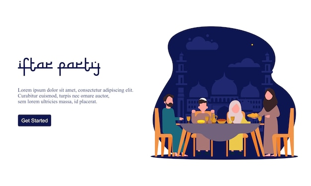 Плоский дизайн ифтар еды после поста праздник партии концепции. мусульманский семейный ужин на рамадан карим или празднование ид с народным характером. Premium векторы
