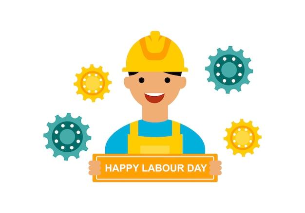 Международный день труда логотип вектор Premium векторы