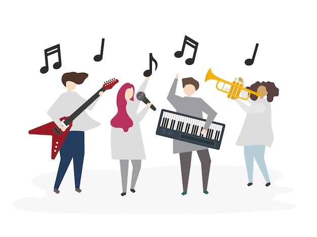 一緒に音楽を演奏するイラストの友達 ベクター画像 プレミアムダウンロード