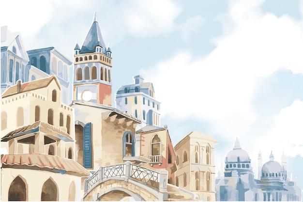 地中海都市のイラスト 無料ベクター