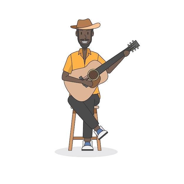 アコースティックギタープレーヤーのイラスト ベクター画像 無料