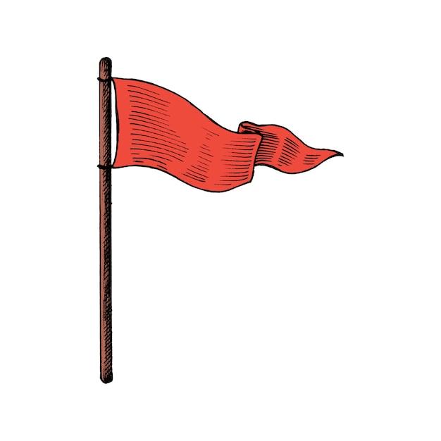 Рука обращается флаг, изолированных на белом фоне Бесплатные векторы