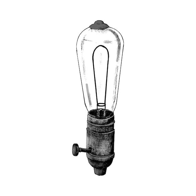 Ручная обратная ретро лампочка Бесплатные векторы