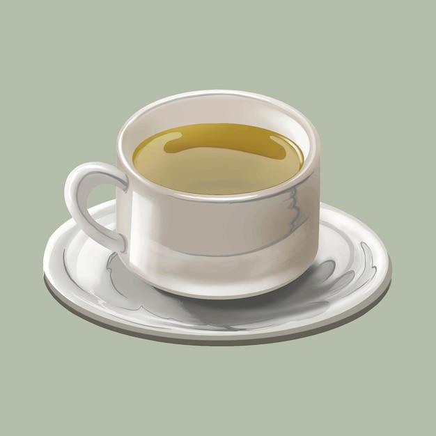 伝統的な日本の緑茶または抹茶のカップ 無料ベクター