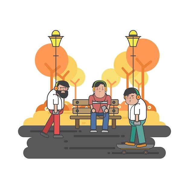 Иллюстрация парней, висящих в парке Бесплатные векторы